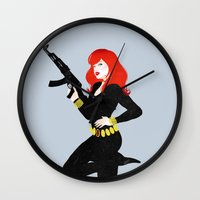 black widow Wall Clocks featuring Black Widow by keygrin