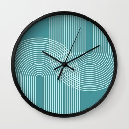 Geometric Lines in Teal Green Wall Clock