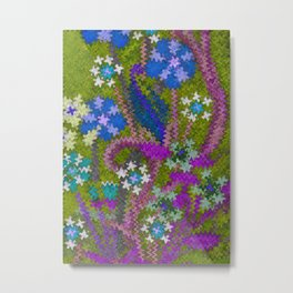 Starry Floral Felted Wool, Moss Green and Violet Metal Print