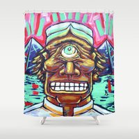 cyclops Shower Curtains featuring CYCLOPS by Jamil Zakaria Keyani