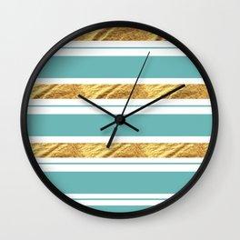 Gold and Aqua Blue Stripes Wall Clock