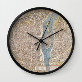 Color Map of Paris Circa 1550 Wall Clock