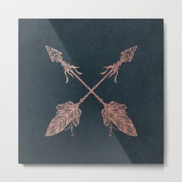 Arrows Rose Gold Foil on Navy Blue Metal Print