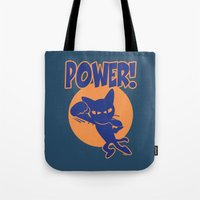 power Tote Bags featuring Power! by BATKEI