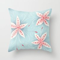Beautiful Abstract Flowers In Red And White Throw Pillow