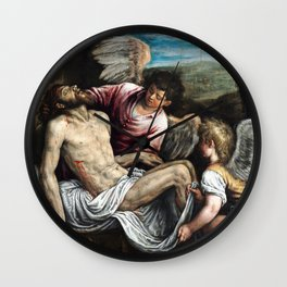 Leandro Bassano The Dead Christ with Angels Wall Clock