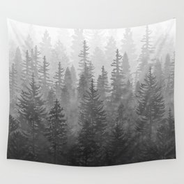 My Misty Secret Forest - black & white Wall Tapestry