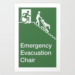 Accessible Means of Egress Icon, Emergency Evacuation Chair Sign Art Print
