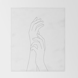 Minimal Line Art Feminine Hands Throw Blanket