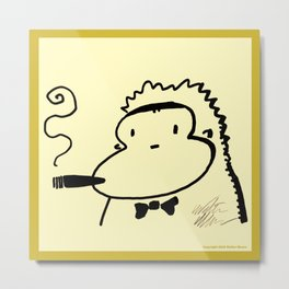Cigar Ape in Bowtie Metal Print