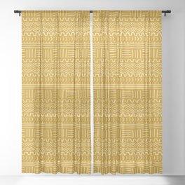 Mud Cloth on Mustard Sheer Curtain