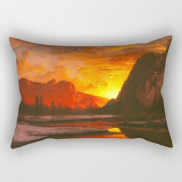 Classical Masterpiece 'Sunset in the Yosemite Valley' by Albert Bierstadt Rectangular Pillow