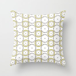 Gold and Silver Rings Polka Dot Pattern Throw Pillow