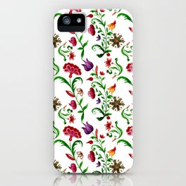 Bright seamless floral pattern on white background iPhone Case