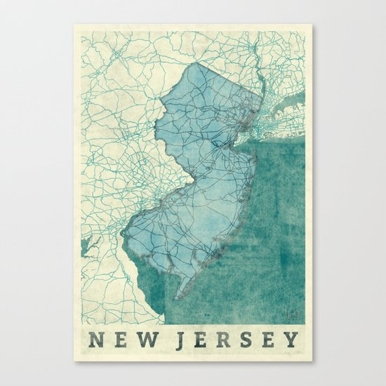 New Jersey State Map Blue Vintage Canvas Print