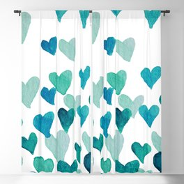 Valentine's Day Watercolor Hearts - turquoise Blackout Curtain