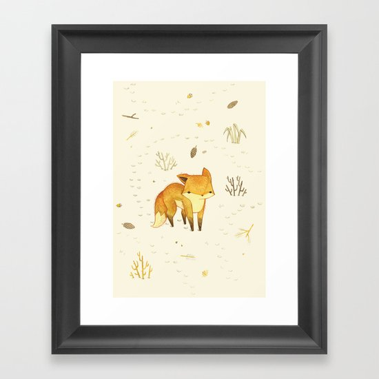 Lonely Winter Fox Framed Art Print