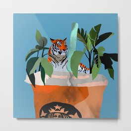 Coffee tiger Metal Print