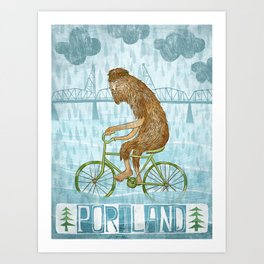 Dirty Wet Bigfoot Hipster Art Print