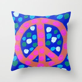 Orange Peace Symbol on Blue Throw Pillow
