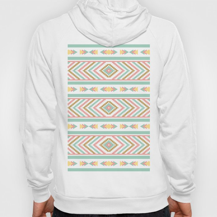 a4056a7dc6c268 Abstract Tribal Native Geometric Pattern - Bohemian Festival Colorful Hoody  by peladesign