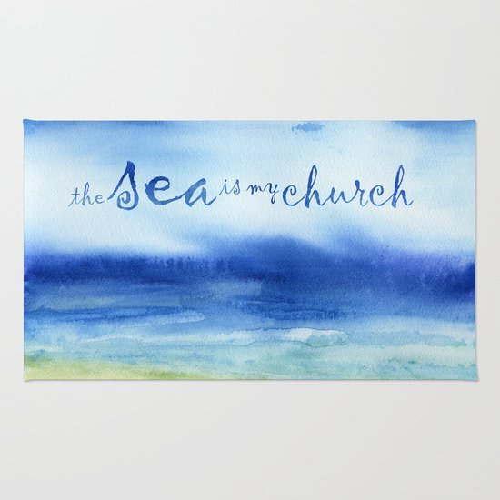 The Sea Is My Church (text) Rug