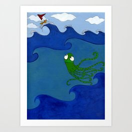 The Octopus and the Boat Art Print
