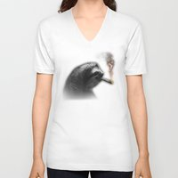 weed V-neck T-shirts featuring Weed Sloth by fastestslothalive