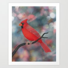 male Northern cardinal bokeh background Art Print