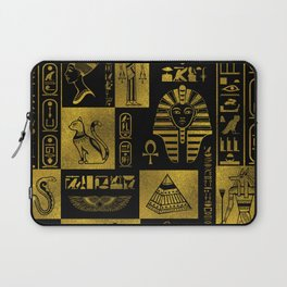 Egyptian  Gold hieroglyphs and symbols collage Laptop Sleeve