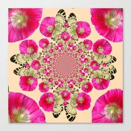 modern art cerise pink hollyhock & yellow butterflies Canvas Print