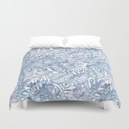 Hand painted pink blue watercolor tropical leaves floral Duvet Cover