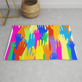 Diverse Community of Hands Rug