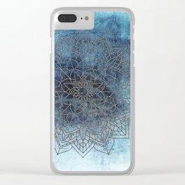 Indigo Blue Soft Blue White Mandala Clear iPhone Case