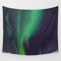 northern lights Wall Tapestries featuring northern lights by Ewa Pacia