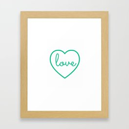 "Mint Green ""Love"" Print / Charming / Home Decor / Office Decor / Craft Space Decor Framed Art Print"