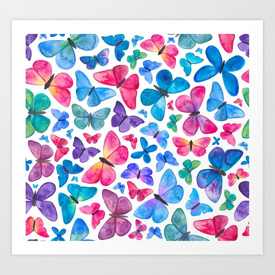 Watercolour Butterflies Art Print