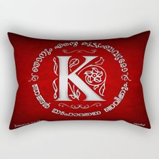 Joshua 24:15 - (Silver on Red) Monogram K Rectangular Pillow