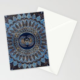 Egyptian Scarab Beetle Gold and Blue marble Stationery Cards