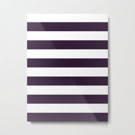 Horizontal Stripes - White and Dark Purple Metal Print