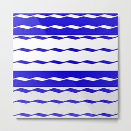 Blue and White WAVE Pattern abstract blue Metal Print
