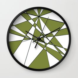 Geometric pattern Olive green  Wall Clock