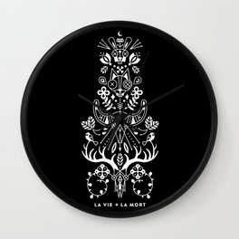 La Vie + La Mort: White Ink Wall Clock