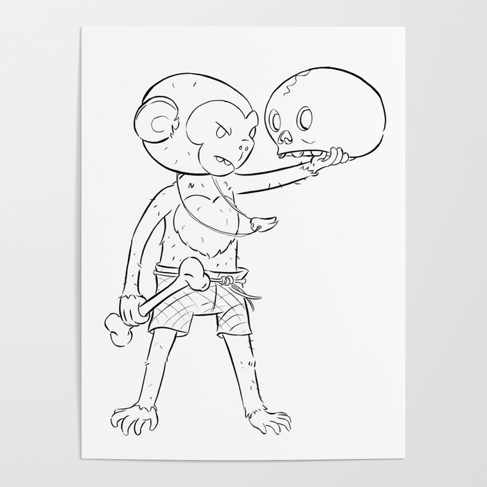 Monkey Pirate - ink Poster