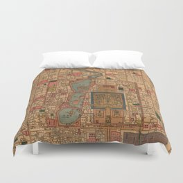 Vintage Map of Beijing China (1914) Duvet Cover