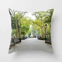 Morning Stroll in the Village Throw Pillow