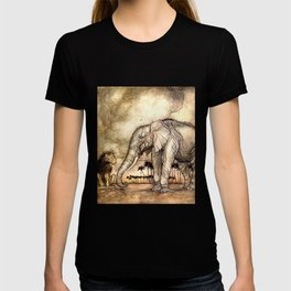 An Elephant and A Lion - Vintage Artwork T-shirt