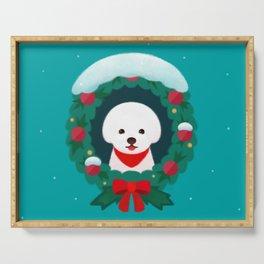 Christmas Bichon Serving Tray