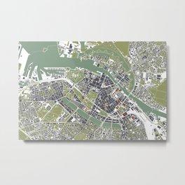 Copenhagen city map engraving Metal Print