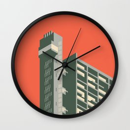 Trellick Tower London Brutalist Architecture - Plain Red Wall Clock